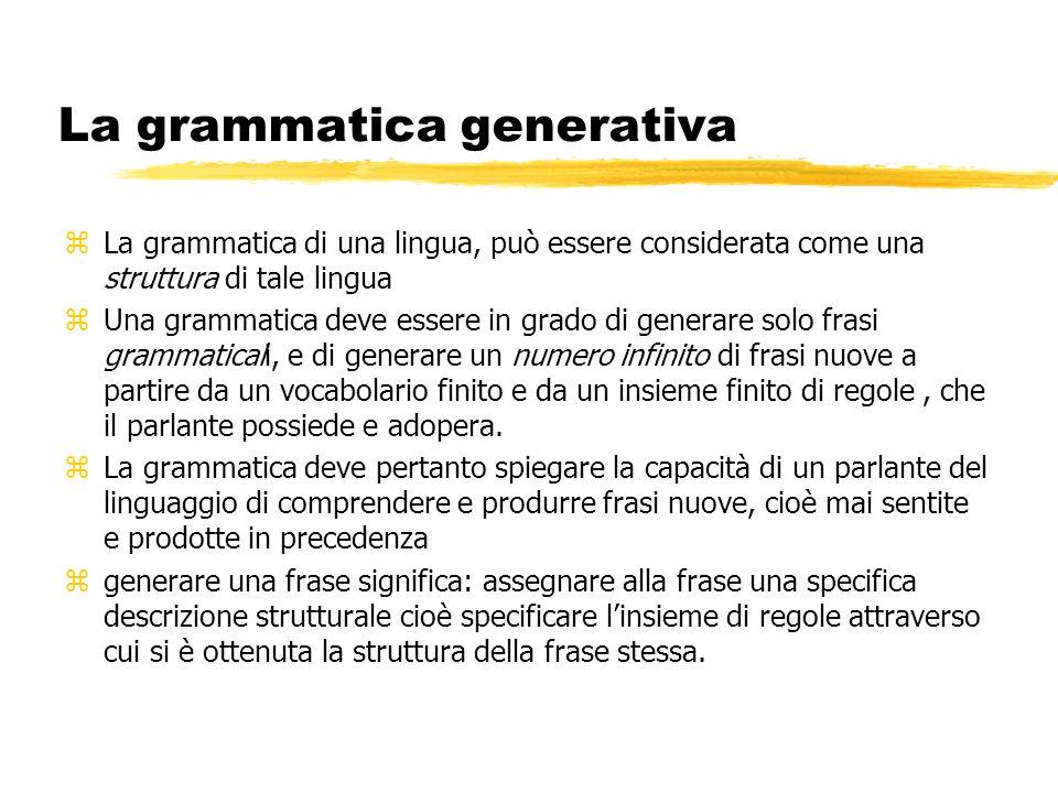 La grammatica generativa zLa grammatica di una lingua, può essere considerata come una struttura di tale lingua zUna grammatica deve essere in grado d