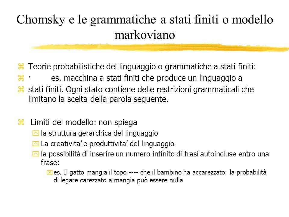 Chomsky e le grammatiche a stati finiti o modello markoviano z Teorie probabilistiche del linguaggio o grammatiche a stati finiti: z · es. macchina a