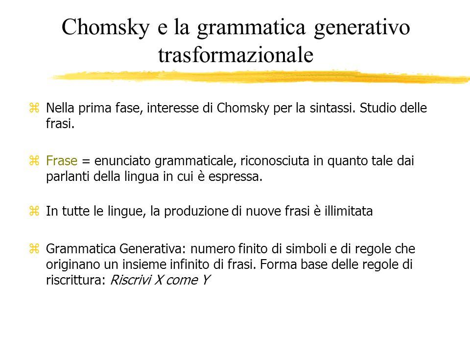 Chomsky e la grammatica generativo trasformazionale z Nella prima fase, interesse di Chomsky per la sintassi. Studio delle frasi. zFrase = enunciato g