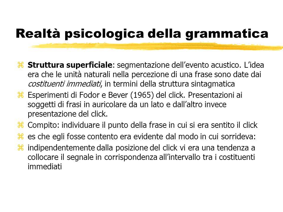 Realtà psicologica della grammatica zStruttura superficiale: segmentazione dellevento acustico. Lidea era che le unità naturali nella percezione di un