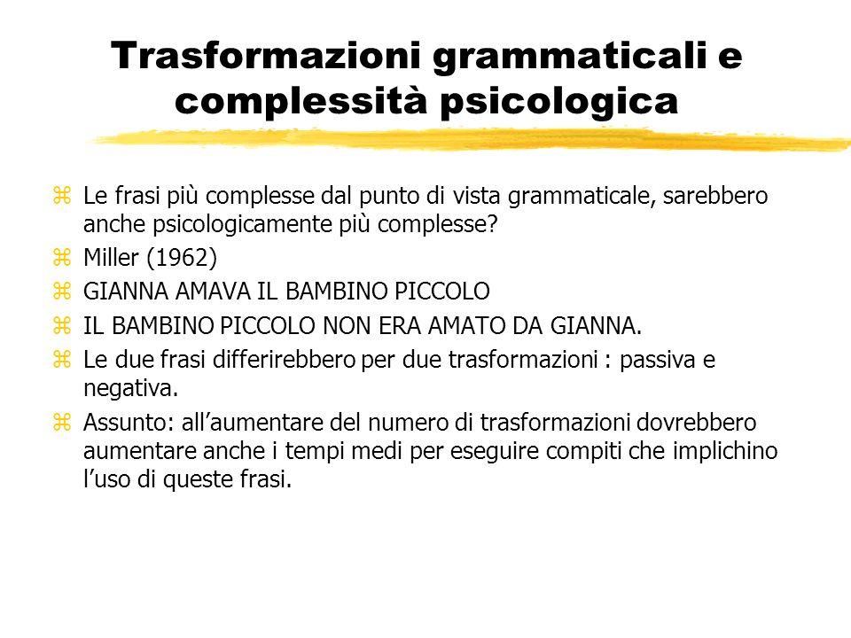Trasformazioni grammaticali e complessità psicologica zLe frasi più complesse dal punto di vista grammaticale, sarebbero anche psicologicamente più co