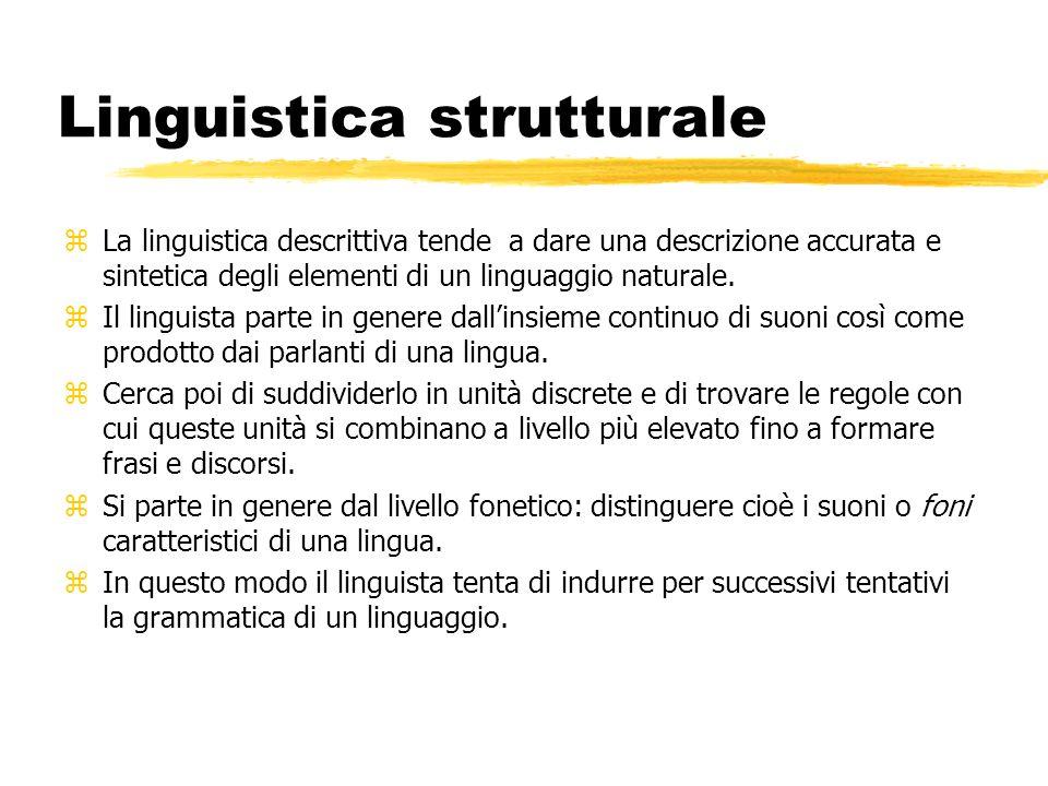 Linguistica strutturale zLa linguistica descrittiva tende a dare una descrizione accurata e sintetica degli elementi di un linguaggio naturale. zIl li
