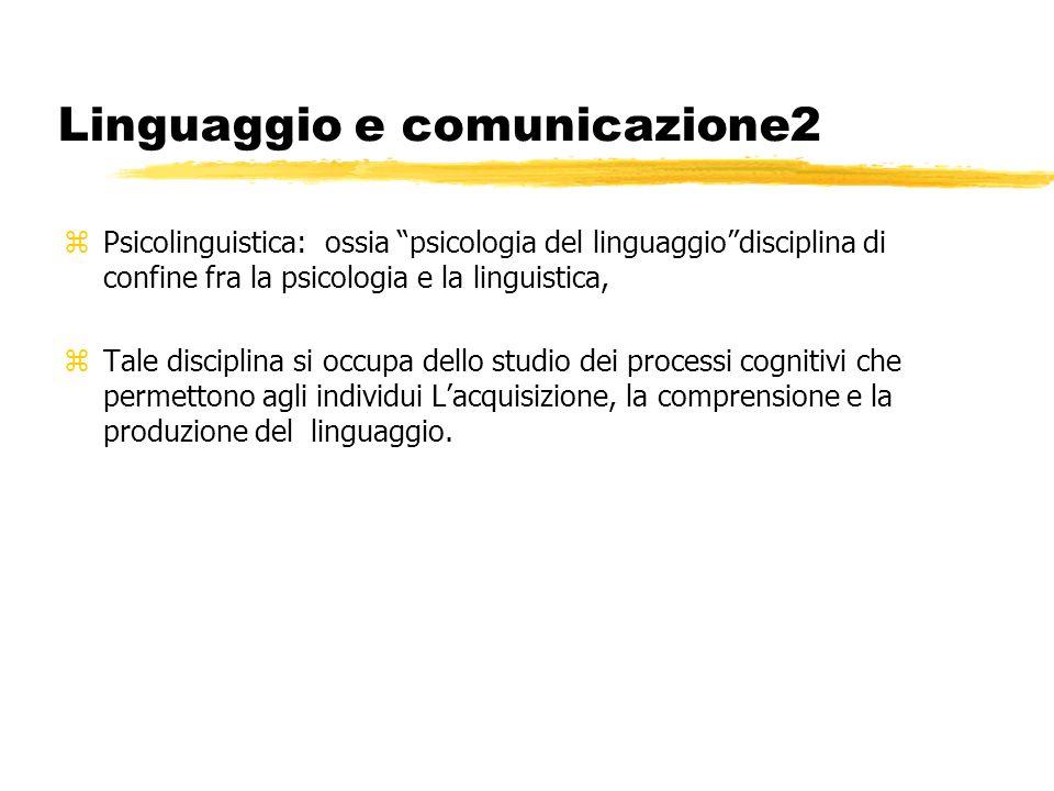 Linguaggio e comunicazione2 zPsicolinguistica: ossia psicologia del linguaggiodisciplina di confine fra la psicologia e la linguistica, zTale discipli