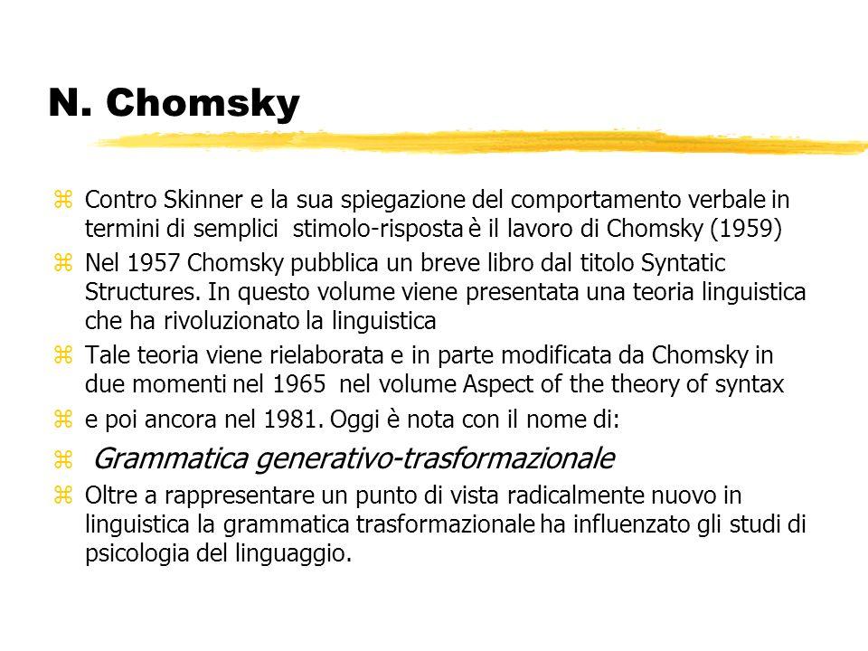 N. Chomsky zContro Skinner e la sua spiegazione del comportamento verbale in termini di semplici stimolo-risposta è il lavoro di Chomsky (1959) zNel 1