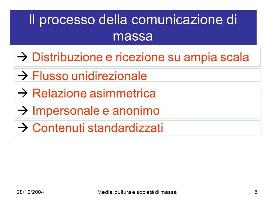 28/10/2004Media, cultura e società di massa5 Distribuzione e ricezione su ampia scala Il processo della comunicazione di massa Flusso unidirezionale Relazione asimmetrica Impersonale e anonimo Contenuti standardizzati