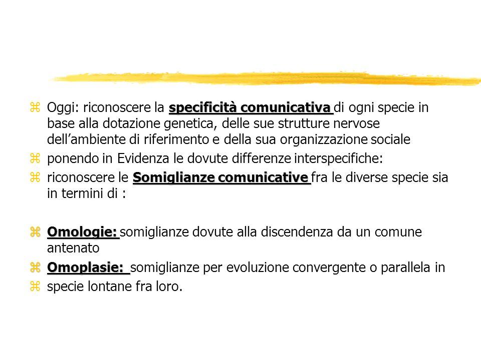 specificità comunicativa zOggi: riconoscere la specificità comunicativa di ogni specie in base alla dotazione genetica, delle sue strutture nervose de