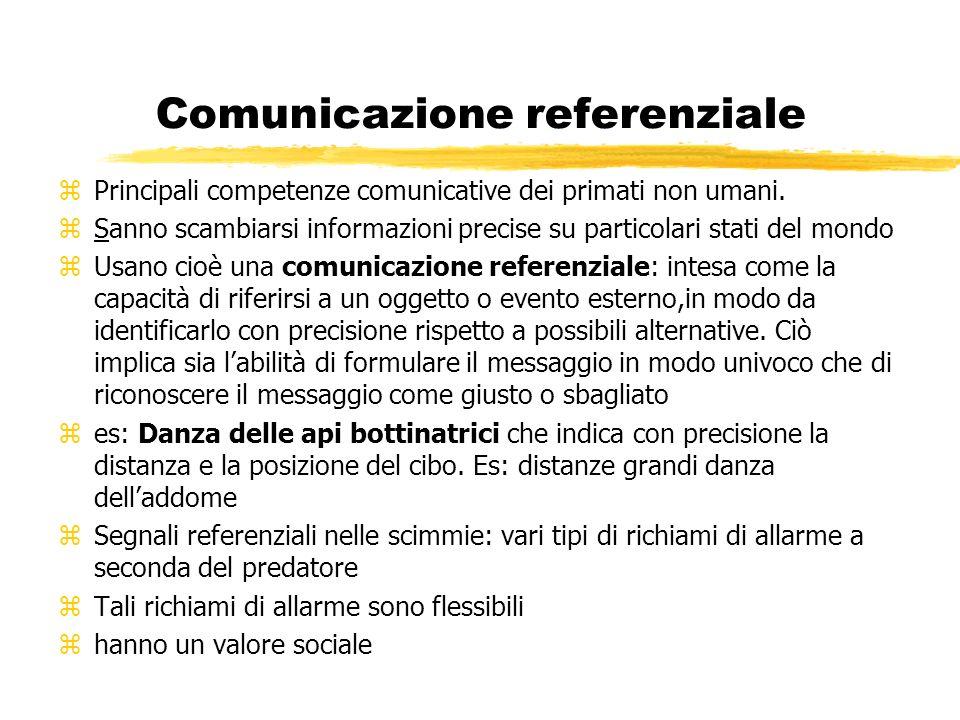 Comunicazione referenziale zPrincipali competenze comunicative dei primati non umani. zSanno scambiarsi informazioni precise su particolari stati del