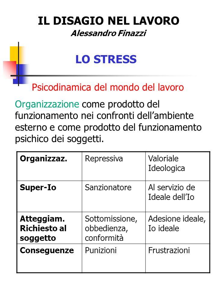 IL DISAGIO NEL LAVORO Alessandro Finazzi LO STRESS Psicodinamica del mondo del lavoro Organizzazione come prodotto del funzionamento nei confronti del