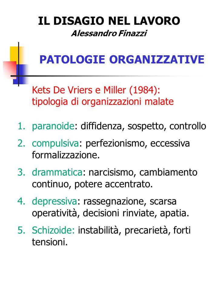 IL DISAGIO NEL LAVORO Alessandro Finazzi PATOLOGIE ORGANIZZATIVE Kets De Vriers e Miller (1984): tipologia di organizzazioni malate 1.paranoide: diffi