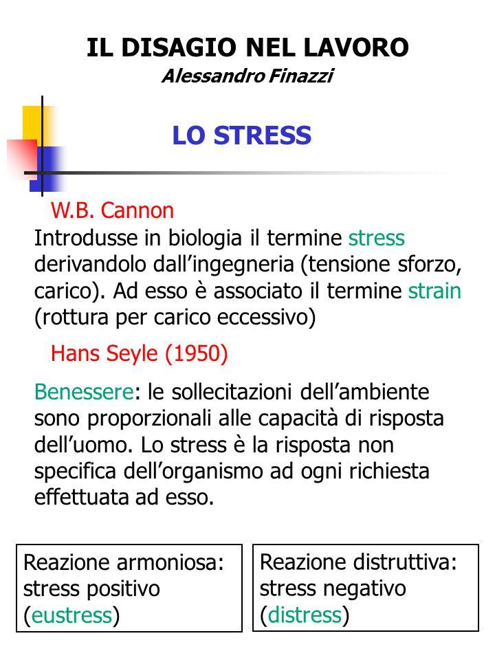 IL DISAGIO NEL LAVORO Alessandro Finazzi LO STRESS W.B. Cannon Introdusse in biologia il termine stress derivandolo dallingegneria (tensione sforzo, c