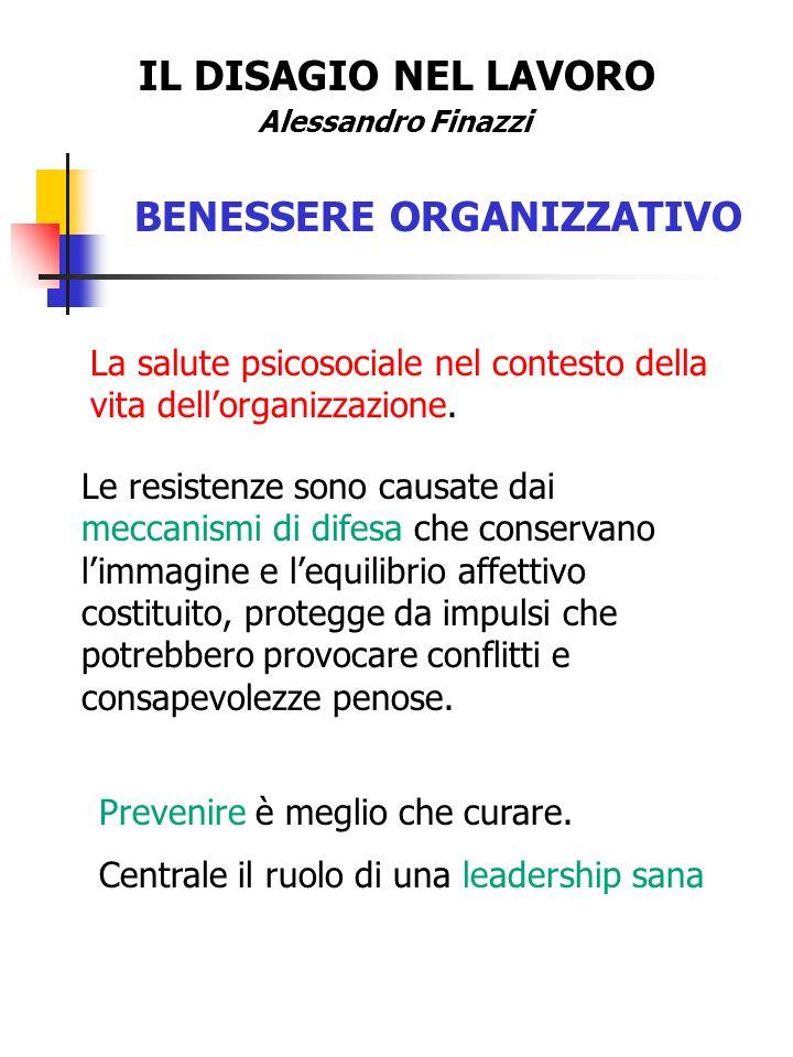 IL DISAGIO NEL LAVORO Alessandro Finazzi BENESSERE ORGANIZZATIVO La salute psicosociale nel contesto della vita dellorganizzazione. Le resistenze sono