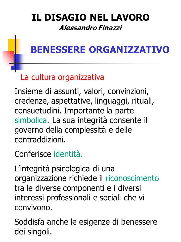 IL DISAGIO NEL LAVORO Alessandro Finazzi BENESSERE ORGANIZZATIVO La cultura organizzativa Insieme di assunti, valori, convinzioni, credenze, aspettati