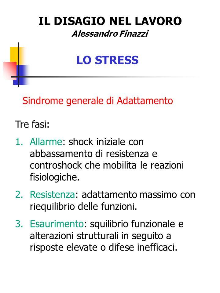 IL DISAGIO NEL LAVORO Alessandro Finazzi LO STRESS Sindrome generale di Adattamento Tre fasi: 1.Allarme: shock iniziale con abbassamento di resistenza