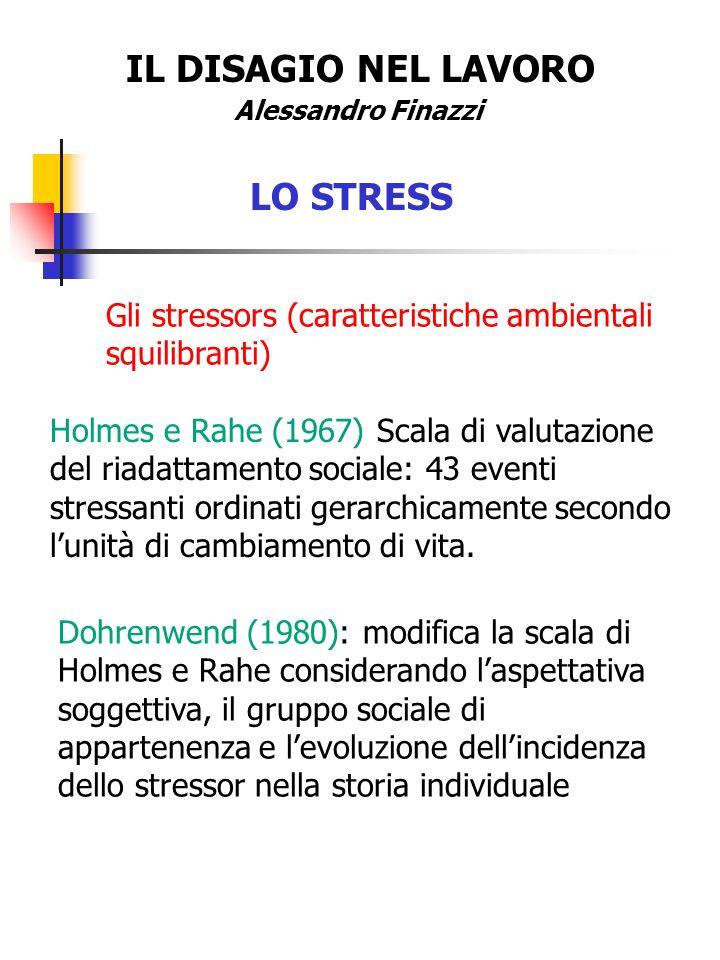 IL DISAGIO NEL LAVORO Alessandro Finazzi LO STRESS Gli stressors (caratteristiche ambientali squilibranti) Holmes e Rahe (1967) Scala di valutazione d