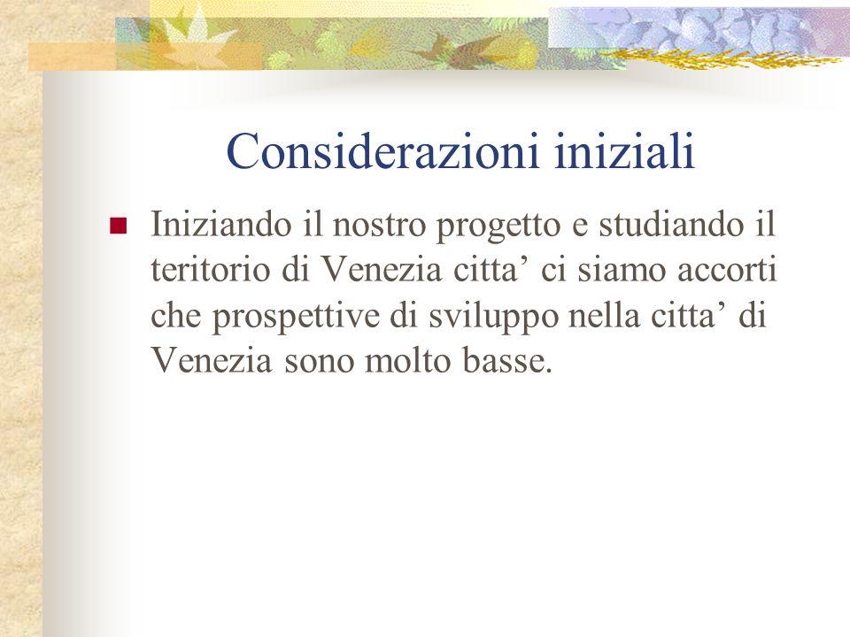 Considerazioni iniziali Iniziando il nostro progetto e studiando il teritorio di Venezia citta ci siamo accorti che prospettive di sviluppo nella citta di Venezia sono molto basse.