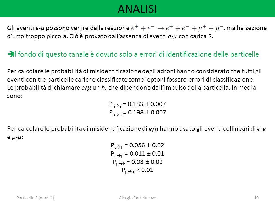 ANALISI Particelle 2 (mod. 1)Giorgio Castelnuovo10 Gli eventi e-μ possono venire dalla reazione, ma ha sezione durto troppo piccola. Ciò è provato dal