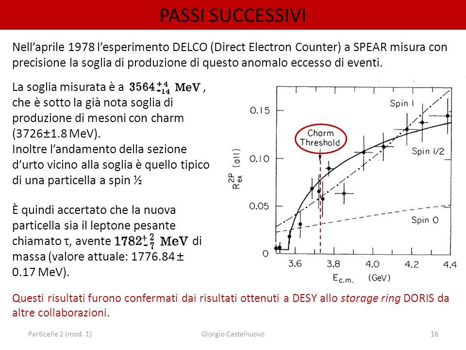 Particelle 2 (mod. 1)Giorgio Castelnuovo16 PASSI SUCCESSIVI Nellaprile 1978 lesperimento DELCO (Direct Electron Counter) a SPEAR misura con precisione