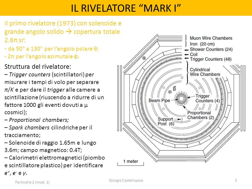 IL RIVELATORE MARK I Particelle 2 (mod. 1) Giorgio Castelnuovo5 Struttura del rivelatore: – Trigger counters (scintillatori) per misurare i tempi di v