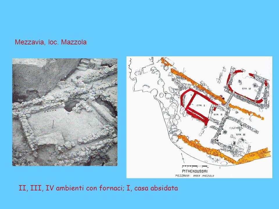 II, III, IV ambienti con fornaci; I, casa absidata Mezzavia, loc. Mazzola