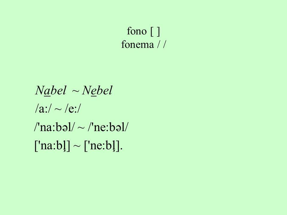 Nabel ~ Nebel /a:/ ~ /e:/ /'na:bəl/ ~ /'ne:bəl/ ['na:bļ] ~ ['ne:bļ]. fono [ ] fonema / /