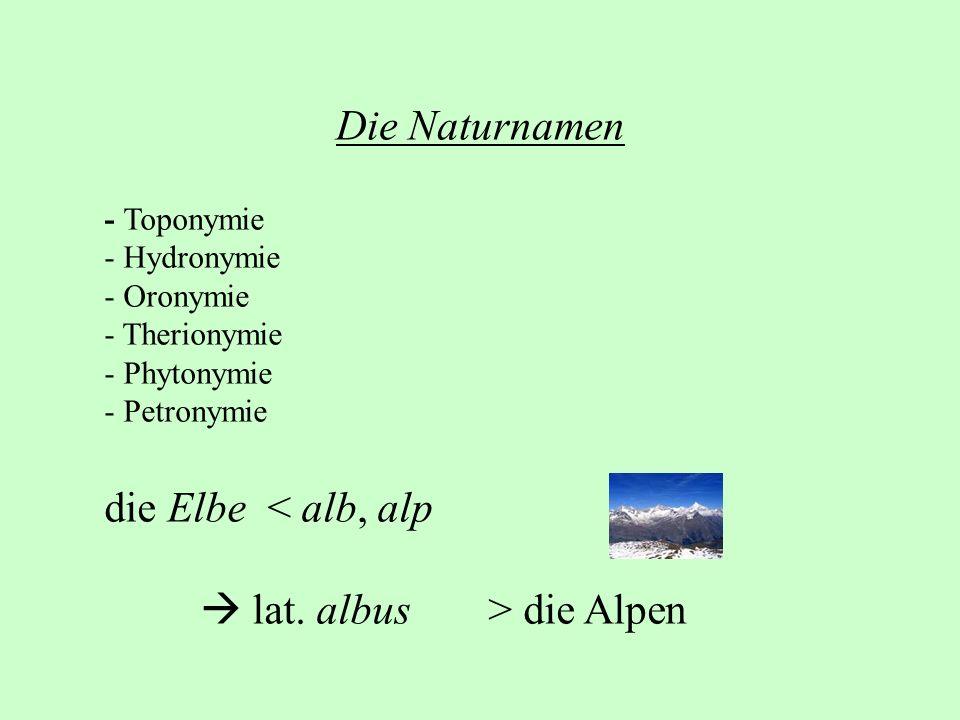 Die Naturnamen - Toponymie - Hydronymie - Oronymie - Therionymie - Phytonymie - Petronymie die Elbe < alb, alp lat. albus> die Alpen
