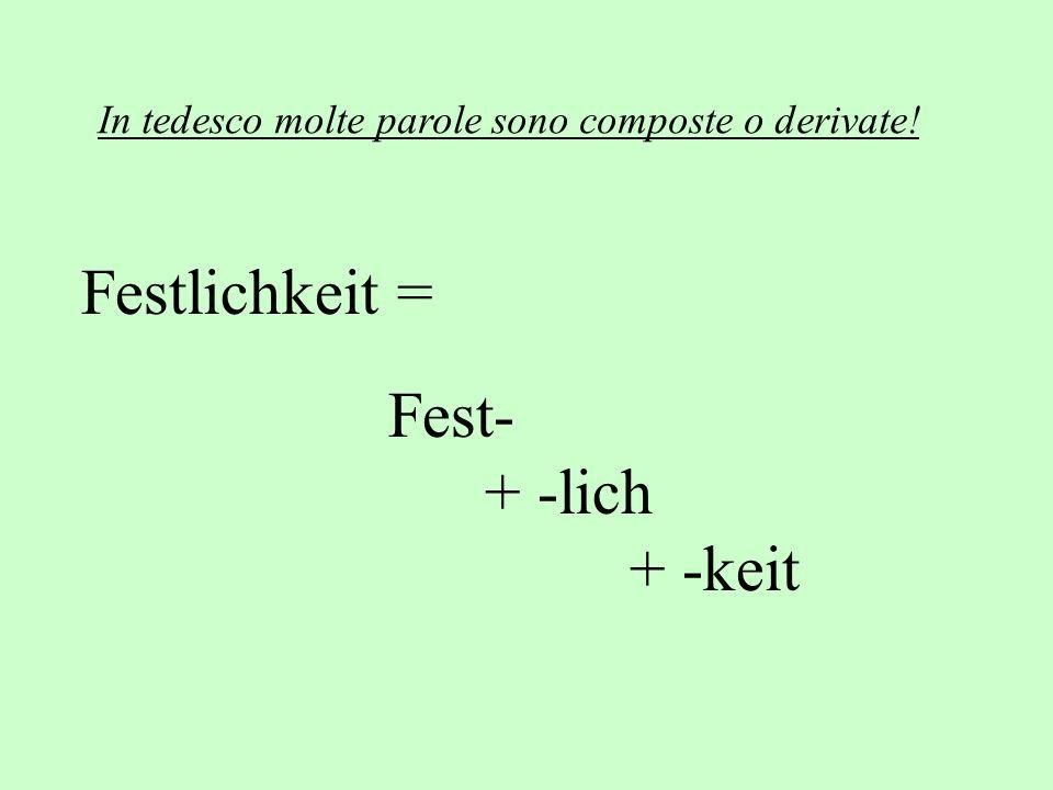 Festlichkeit = Fest- + -lich + -keit In tedesco molte parole sono composte o derivate!