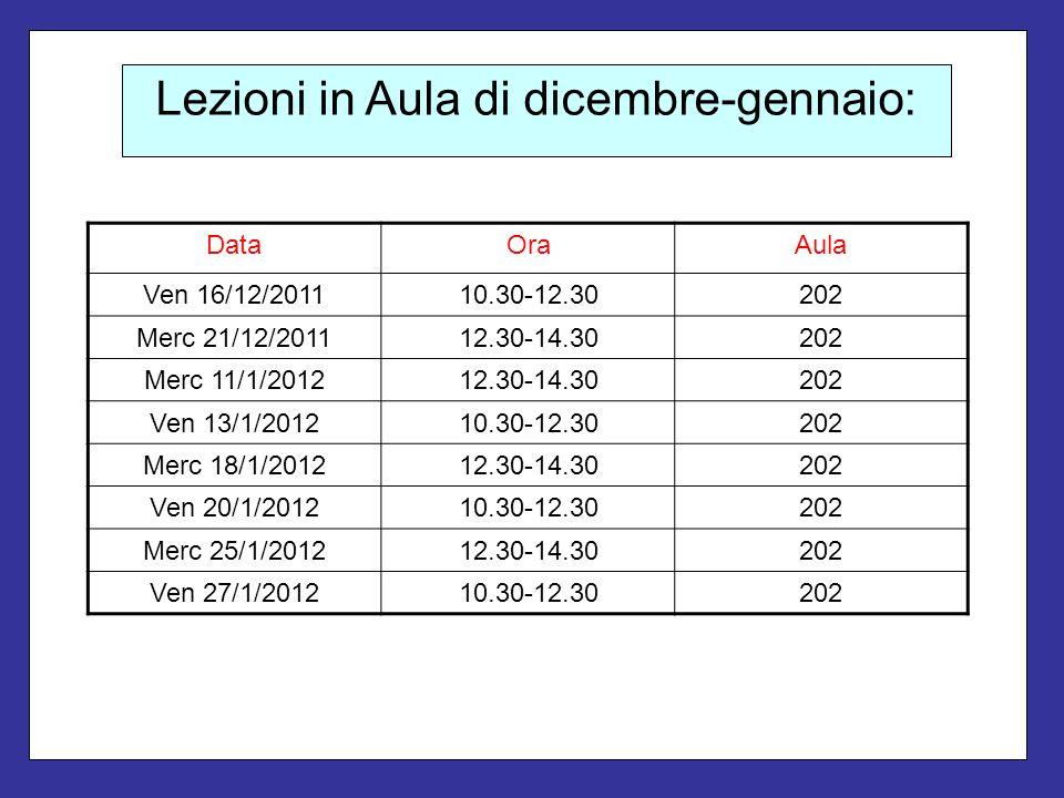 Lezioni in Aula di dicembre-gennaio: DataOraAula Ven 16/12/201110.30-12.30202 Merc 21/12/201112.30-14.30202 Merc 11/1/201212.30-14.30202 Ven 13/1/2012