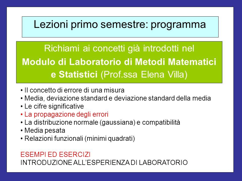 Lezioni primo semestre: programma Il concetto di errore di una misura Media, deviazione standard e deviazione standard della media Le cifre significat