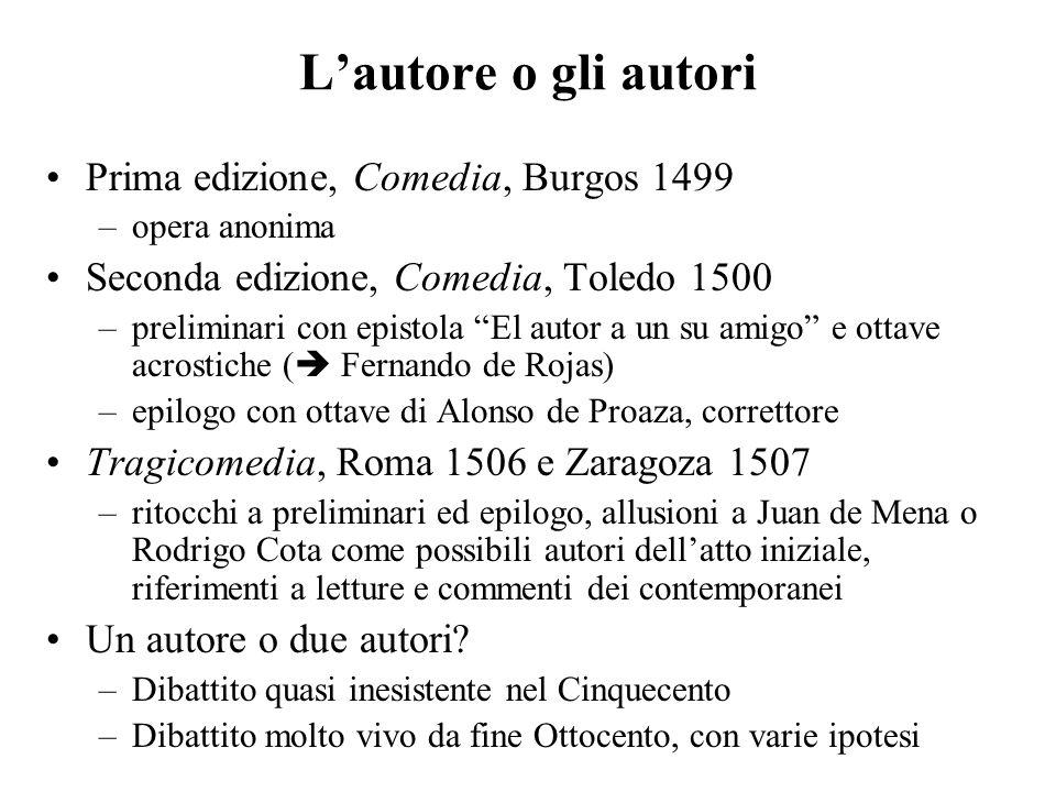 Lautore o gli autori Prima edizione, Comedia, Burgos 1499 –opera anonima Seconda edizione, Comedia, Toledo 1500 –preliminari con epistola El autor a u