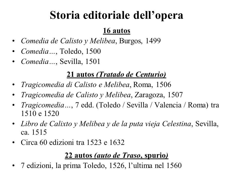 Storia editoriale dellopera 16 autos Comedia de Calisto y Melibea, Burgos, 1499 Comedia…, Toledo, 1500 Comedia…, Sevilla, 1501 21 autos (Tratado de Ce