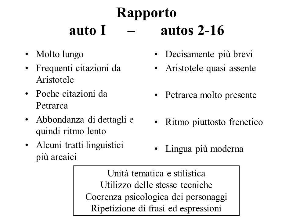 Rapporto auto I – autos 2-16 Molto lungo Frequenti citazioni da Aristotele Poche citazioni da Petrarca Abbondanza di dettagli e quindi ritmo lento Alc