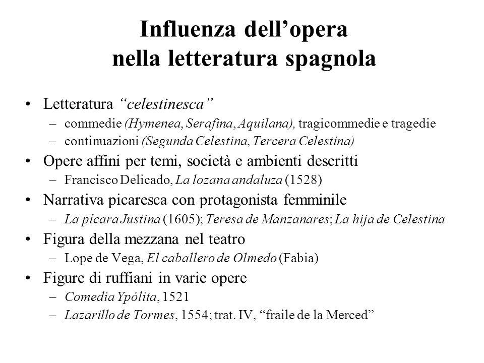 Influenza dellopera nella letteratura spagnola Letteratura celestinesca –commedie (Hymenea, Serafina, Aquilana), tragicommedie e tragedie –continuazio