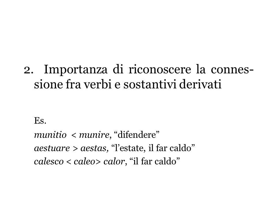 2. Importanza di riconoscere la connes- sione fra verbi e sostantivi derivati Es. munitio < munire, difendere aestuare > aestas, lestate, il far caldo