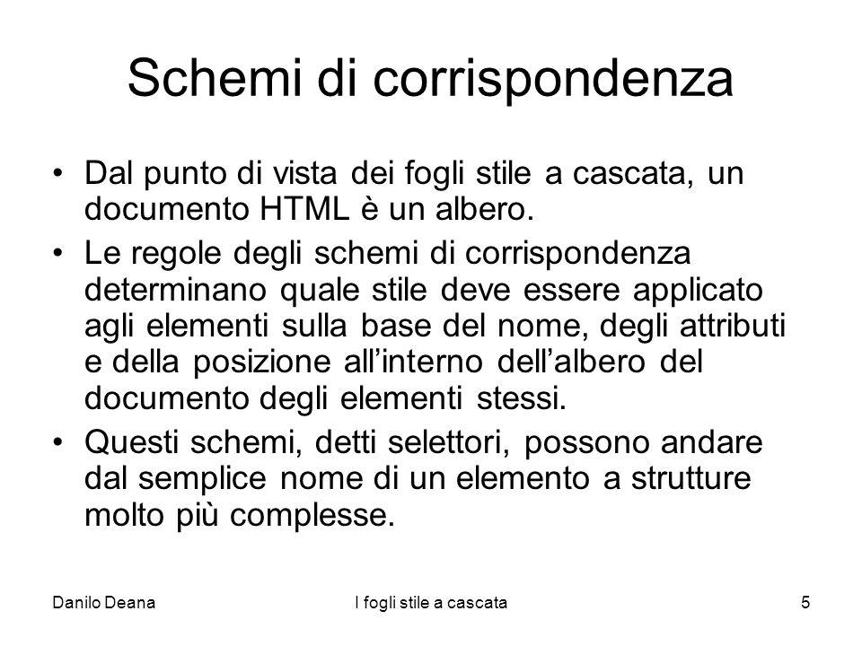 Danilo DeanaI fogli stile a cascata5 Schemi di corrispondenza Dal punto di vista dei fogli stile a cascata, un documento HTML è un albero. Le regole d