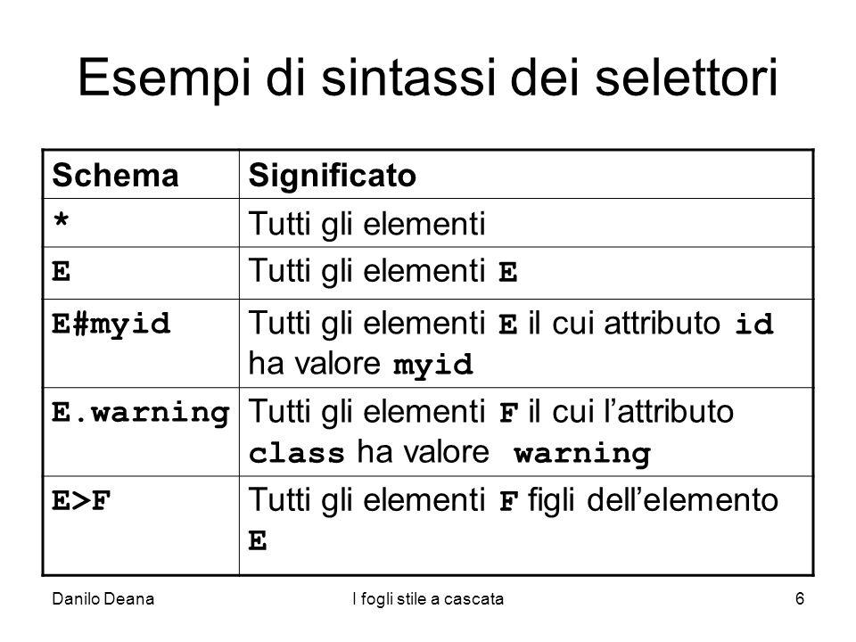 Danilo DeanaI fogli stile a cascata6 Esempi di sintassi dei selettori SchemaSignificato * Tutti gli elementi E Tutti gli elementi E E#myid Tutti gli e