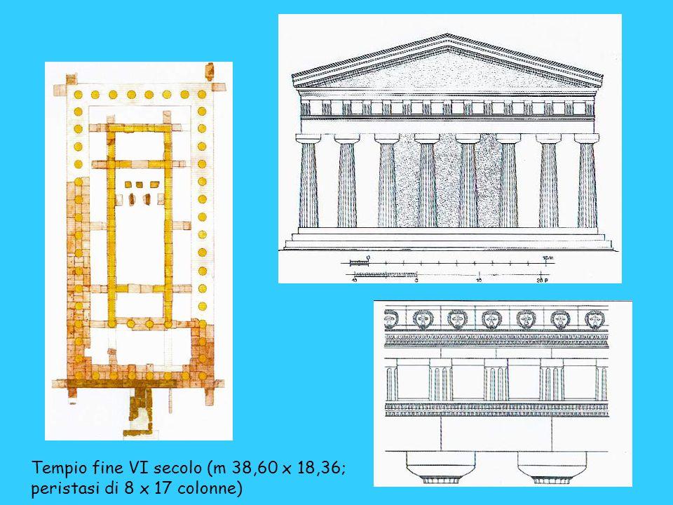 Tempio fine VI secolo (m 38,60 x 18,36; peristasi di 8 x 17 colonne)