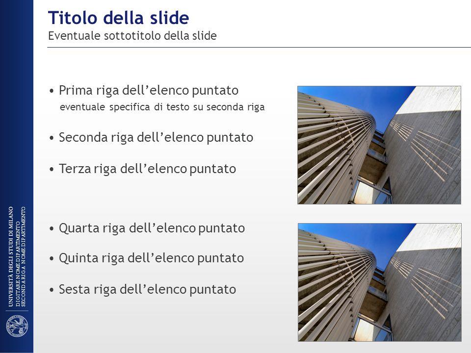 Titolo della slide Eventuale sottotitolo della slide Prima riga dellelenco puntato eventuale specifica di testo su seconda riga Seconda riga dellelenc