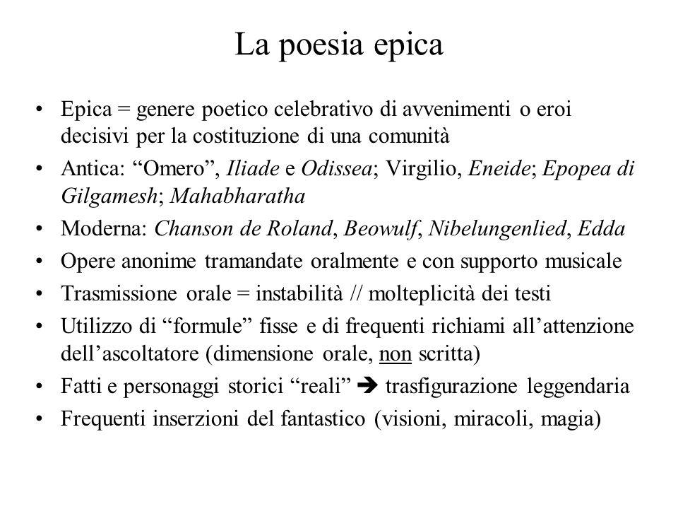 La poesia epica Epica = genere poetico celebrativo di avvenimenti o eroi decisivi per la costituzione di una comunità Antica: Omero, Iliade e Odissea;