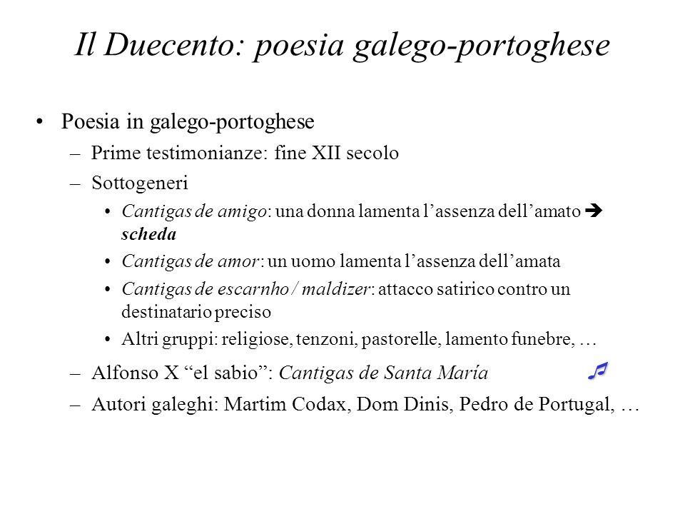 Il Duecento: poesia galego-portoghese Poesia in galego-portoghese –Prime testimonianze: fine XII secolo –Sottogeneri Cantigas de amigo: una donna lame