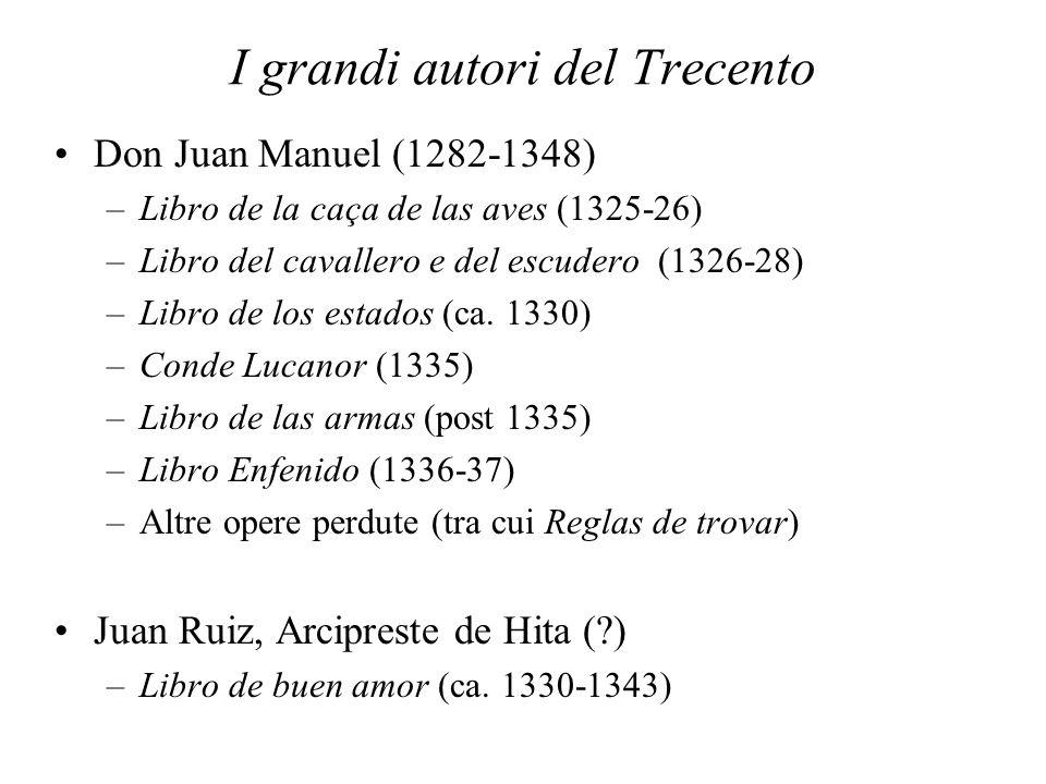 I grandi autori del Trecento Don Juan Manuel (1282-1348) –Libro de la caça de las aves (1325-26) –Libro del cavallero e del escudero (1326-28) –Libro