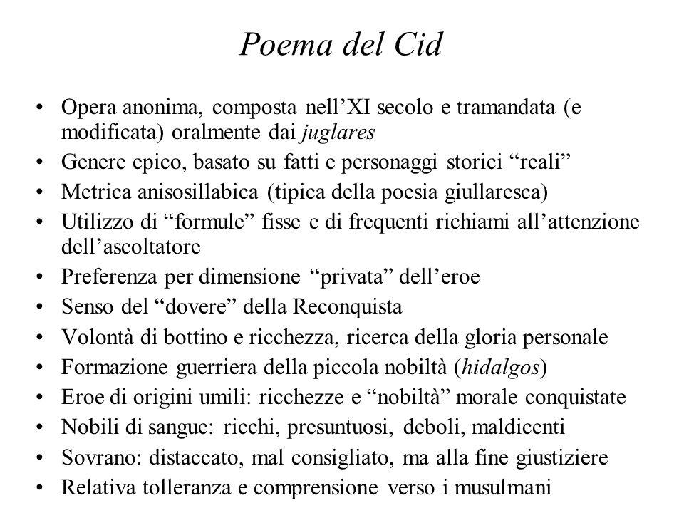 Poema del Cid Opera anonima, composta nellXI secolo e tramandata (e modificata) oralmente dai juglares Genere epico, basato su fatti e personaggi stor