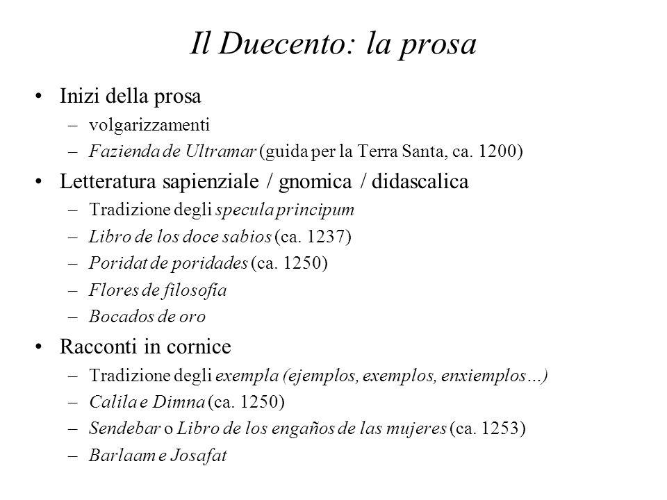 Il Duecento: la prosa Inizi della prosa –volgarizzamenti –Fazienda de Ultramar (guida per la Terra Santa, ca. 1200) Letteratura sapienziale / gnomica