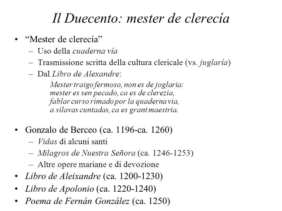 Il Duecento: mester de clerecía Mester de clerecía –Uso della cuaderna vía –Trasmissione scritta della cultura clericale (vs. juglaría) –Dal Libro de