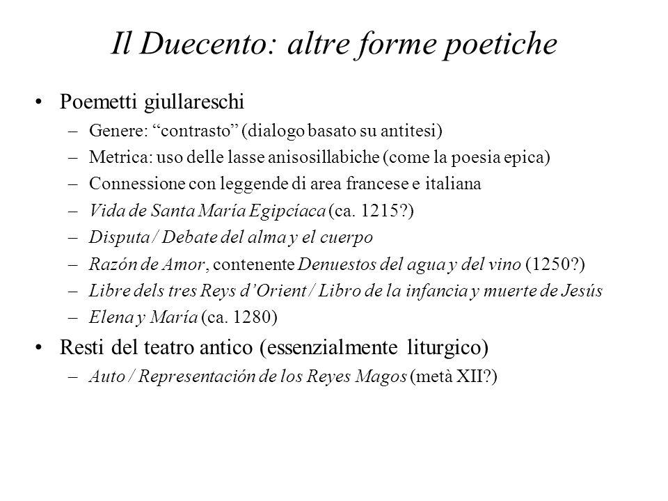 Il Duecento: altre forme poetiche Poemetti giullareschi –Genere: contrasto (dialogo basato su antitesi) –Metrica: uso delle lasse anisosillabiche (com