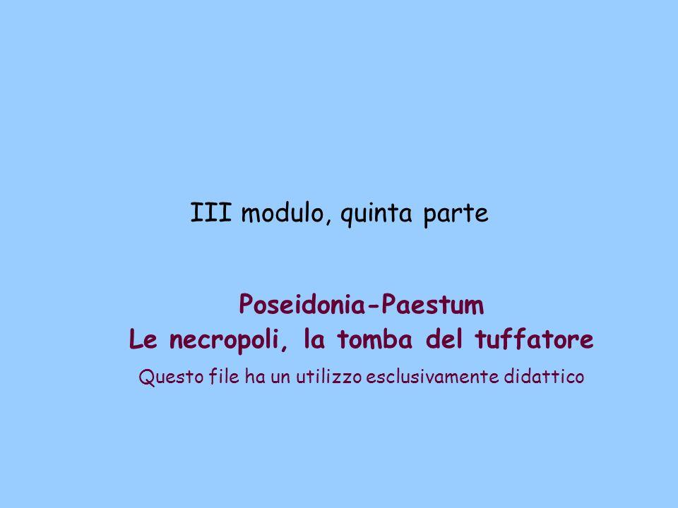 III modulo, quinta parte Poseidonia-Paestum Le necropoli, la tomba del tuffatore Questo file ha un utilizzo esclusivamente didattico