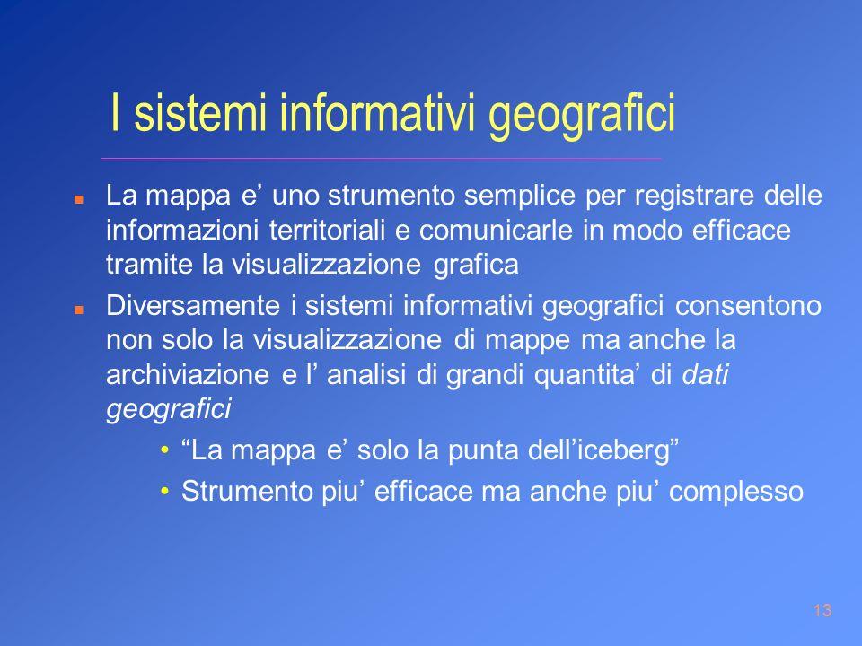 13 I sistemi informativi geografici n La mappa e uno strumento semplice per registrare delle informazioni territoriali e comunicarle in modo efficace