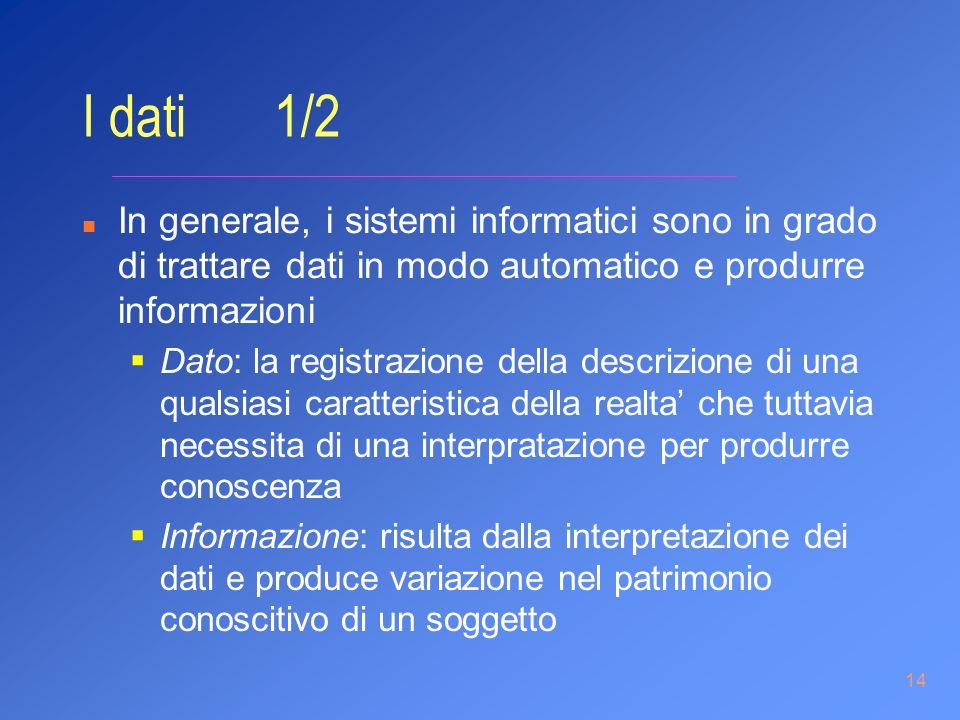 14 I dati 1/2 n In generale, i sistemi informatici sono in grado di trattare dati in modo automatico e produrre informazioni Dato: la registrazione de