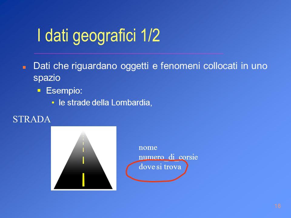 16 I dati geografici 1/2 n Dati che riguardano oggetti e fenomeni collocati in uno spazio Esempio: le strade della Lombardia, nome numero_di_corsie do