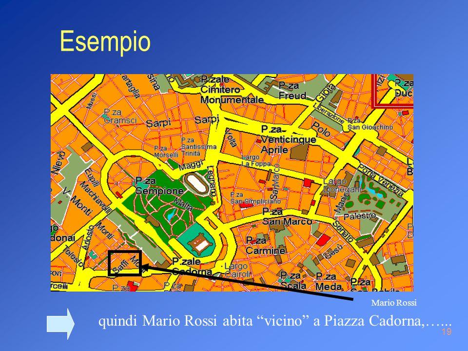 19 quindi Mario Rossi abita vicino a Piazza Cadorna,…... Mario Rossi Esempio