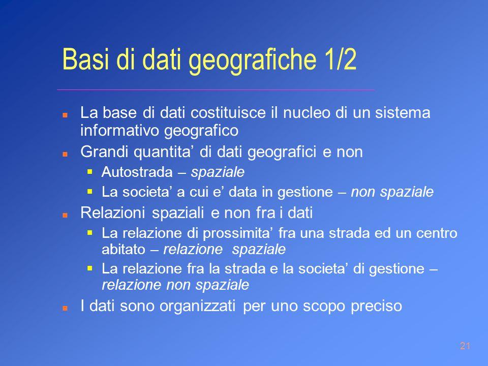 21 Basi di dati geografiche 1/2 n La base di dati costituisce il nucleo di un sistema informativo geografico n Grandi quantita di dati geografici e no